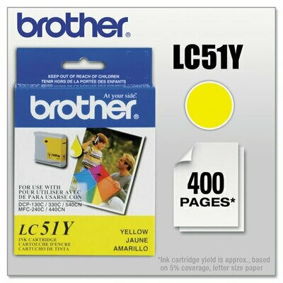 Brother LC 51Y Yellow Ink Cartridge