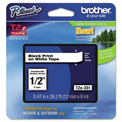 "Brother TZE 231 Label 1/2"" - Black Print On White Tape"