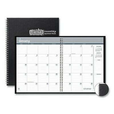 One-Year Monthly Hard Cover Planner, 11 x 8.5, Black