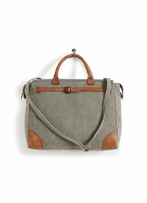 Mona B Piper Upcycled Canvas Tote Bag with Vegan Leather Trim M-5481