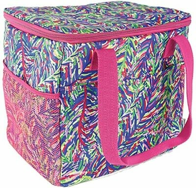 Mary Square Cooler tote blue botanical