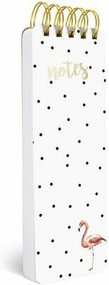 """Graphique Flamingo Reporter Journal, Chic Black Polka Dotted Cover, - 150 Sheets, 3"""" x 8.75"""""""