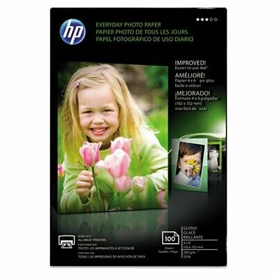 HP Glossy Photo Paper, 8 mil, 4 x 6, 100/Pack