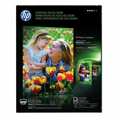 HP Ink Jet Glossy Photo Paper, 8 mil, 8.5 x 11, 50/Pack