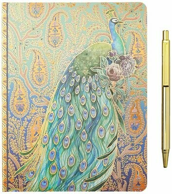 Punch Studio Journal and Pen Set, Peacock Paisley