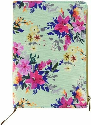 Mary Square Canvas Pocket Journal With Zipper - Floral