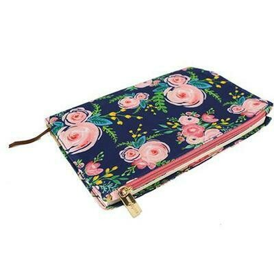 Mary Square Canvas Journal With Zipper - Blue Flower