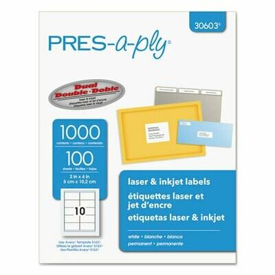 Labels, Laser Printers, 2 x 4, White, 10/Sheet, 100 Sheets/Box