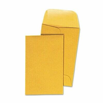 Universal Kraft Coin Envelope, 1, Round Flap, Gummed Closure, 2.25 x 3.5, Light Brown Kraft, 500/Box