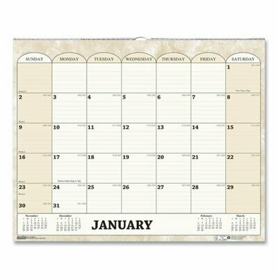 Recycled Monthly Horizontal Wall Calendar, 14.88 x 12, 2021