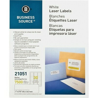 "White Address/Mailing Laser Labels, 1"" x 2 5\8"""