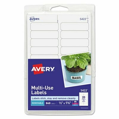 Avery Removable Multi-Use Labels, Inkjet/Laser Printers, 0.5 x 1.75, White