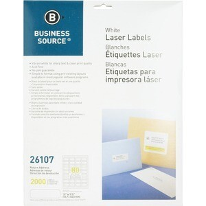 "Business Source Return Address Laser Labels - Permanent Adhesive - 0.50"" x 1.75"""