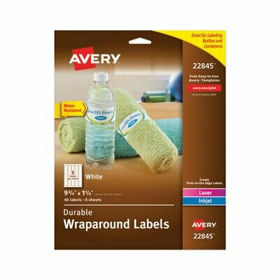 Avery Water-Resistant Wraparound Labels w/ Sure Feed, 9 3/4 x 1 1/4, White, 40/Pack