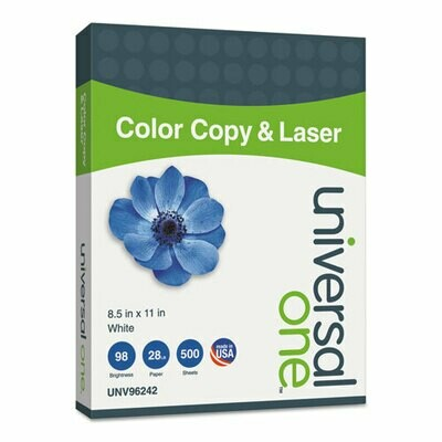 Deluxe Color Copy and Laser Paper, 98 Bright, 28 lb, 8.5 x 11, White, 500/Ream