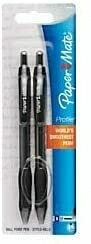 Paper Mate Profile Retractable Ballpoint Pens, Bold Point, 1.4 mm, Black Ink, Pack of 2