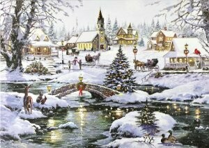 Deluxe Holiday Cards - Village Lights