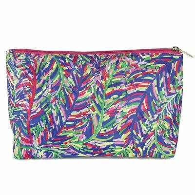 Mary Square Travel Pouch-blue Frond