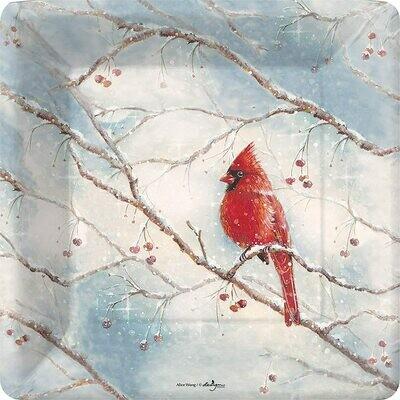 Snowy Cardinal Dinner Plates