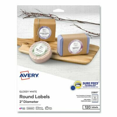 "Avery Round Print-to-the Edge Labels, 2"" dia, Glossy White, 120/PK"