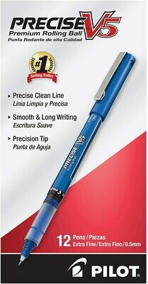 PILOT Precise V5 Rolling Ball Pens, Extra Fine Point, Blue Ink, 12-Pack
