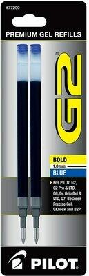 PILOT G2 Gel Ink Refills For Rolling Ball Pens, Bold Point, Blue Ink, 2-Pack
