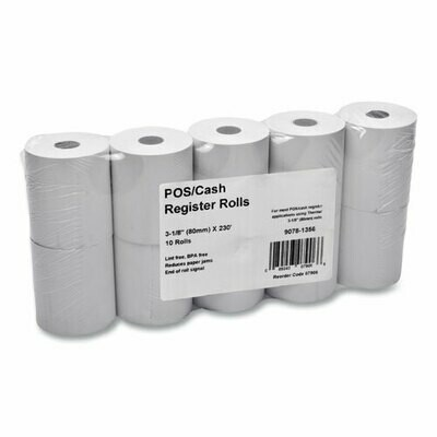 "irect Thermal Paper Rolls, 3.13"" x 230 ft, White, 10/Pack"