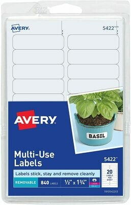 Avery Self-Adhesive Removable Labels, 0.5 x 1.75 Inches