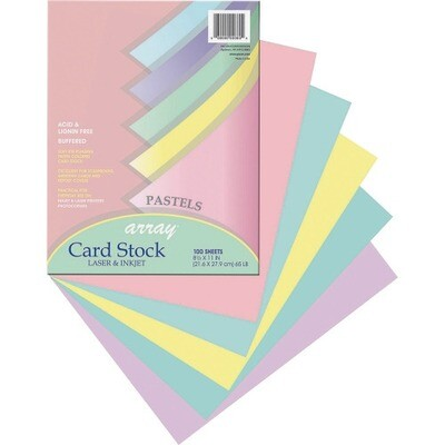 Pacon Printable Multipurpose Card Stock - Pastel Asst. Colors, Letter - 65 lb