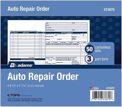 Adams Auto Repair Order Forms, 8.5 x 7.44 Inch, 3-Part, Carbonless, 50-Pack