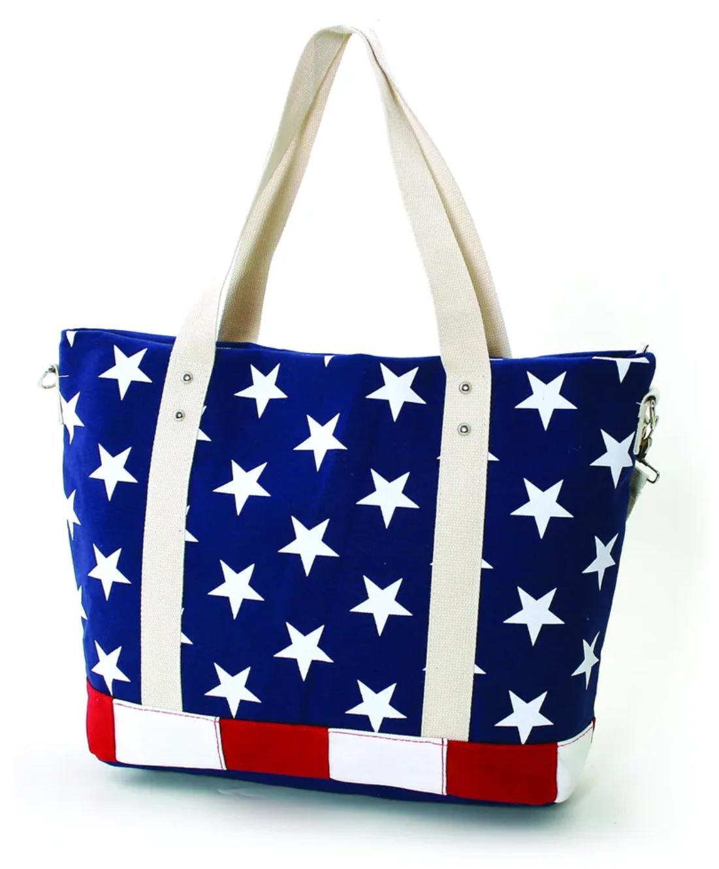 USA Flag Canvas Tote Bag