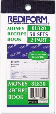 Rediform Money Receipt Book - 2pt, 50 sets