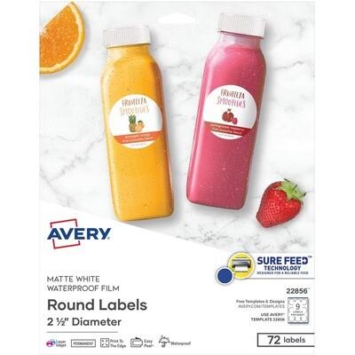 "Avery 2 1/2"" round labels - matte finish"