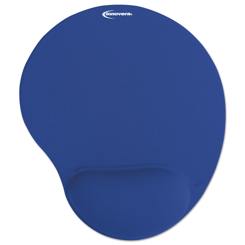 Mouse Pad w/Gel Wrist Pad, Nonskid Base, 10-3/8 x 8-7/8, Blue