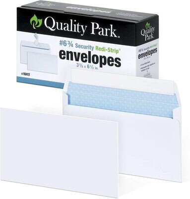 Quality Park #6 3/4 Security-Tinted Envelopes with Peel & Seal, 100-Pack, White