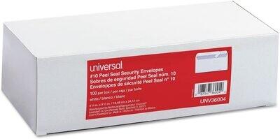 Universal #10 Peel Seal Security Business Envelopes - 100/bx