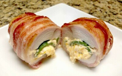 Chicken Breast Stuffed with Jalapeño and Cream Cheese and Bacon Wrapped.