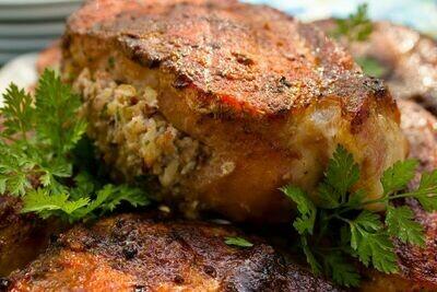 Pork Chop Stuffed with Boudin
