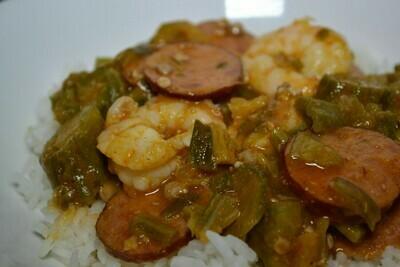 Smothered Okra, Shrimp and Sausage