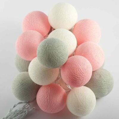Feenlichter Bälle Marshmellow, Cottanball LED Lichterkette 20 Lichter
