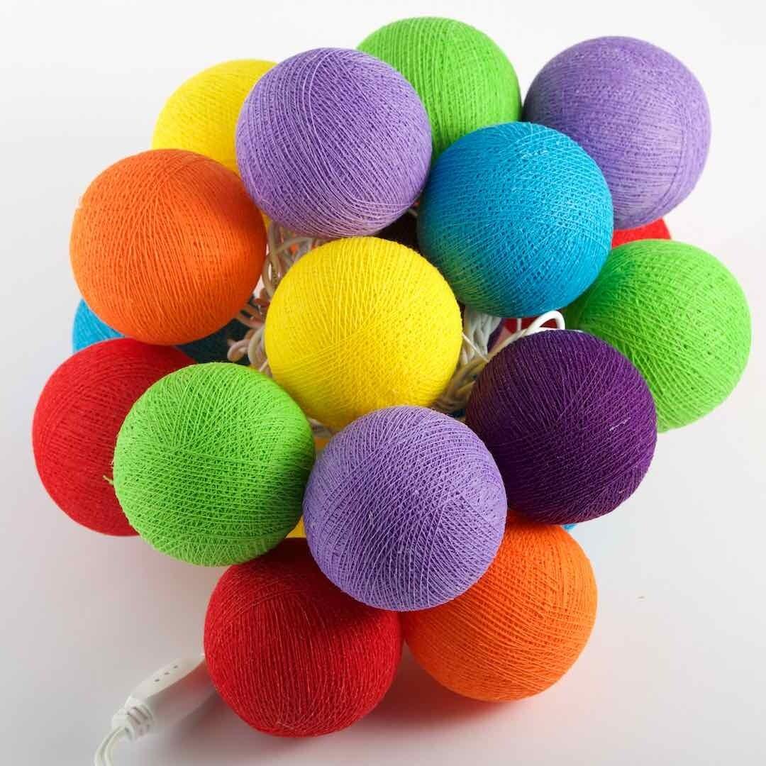 Feenlichter Bälle Rainbow, Cottanball LED Lichterkette 20 Lichter