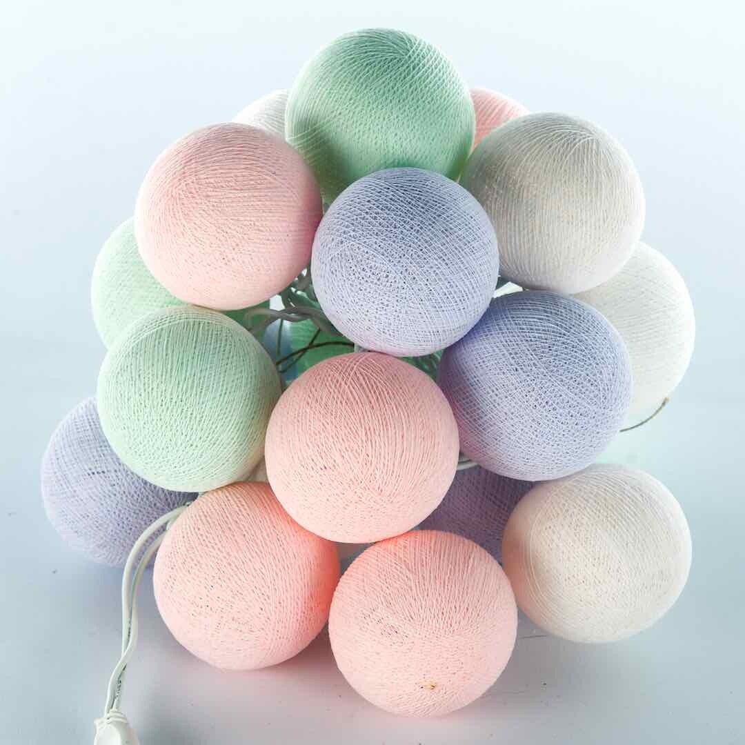 Feenlichter Bälle Baby Mint, Cottanball LED Lichterkette 20 Lichter