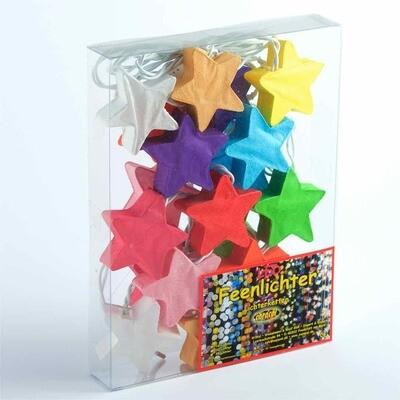 Feenlichter Sterne Regenbogen Saa Papier LED Lichterkette 20 Lichter