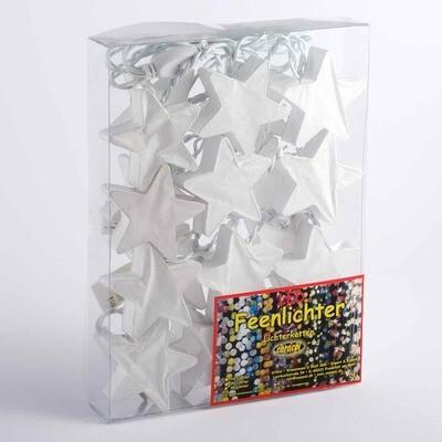 Feenlichter Sterne Weiß Saa Papier LED Lichterkette 20 Lichter