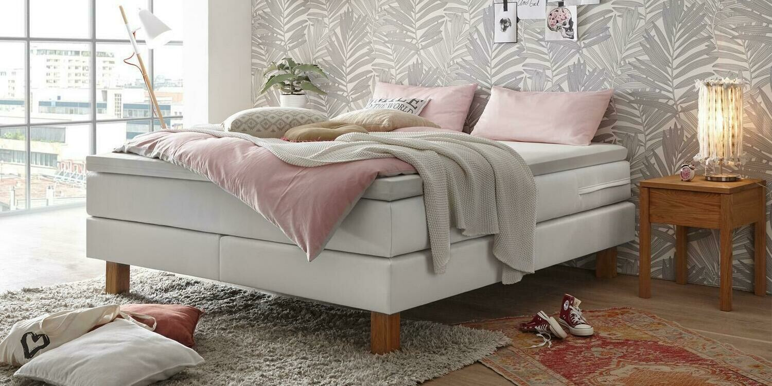 Boxspring Isoba Cuir synthétique white 160x200cm