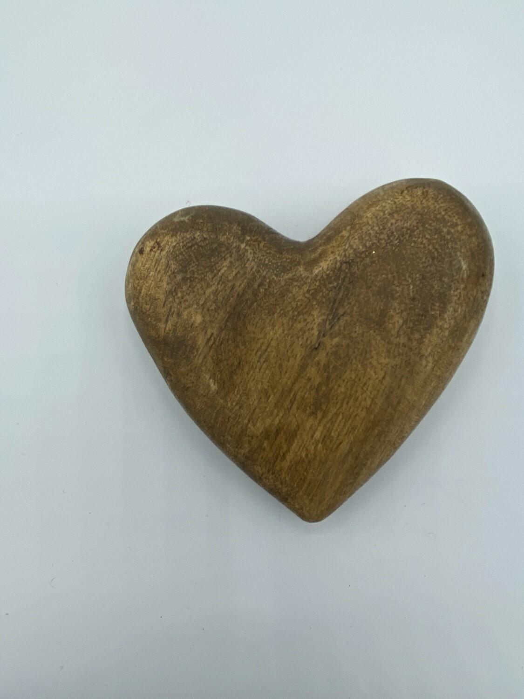 HK7952 hand carved mango wood heart