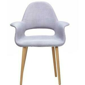 Chair, Organic Cotton Wing Chair (Grey) 28.25 x 24.5 x 36.5