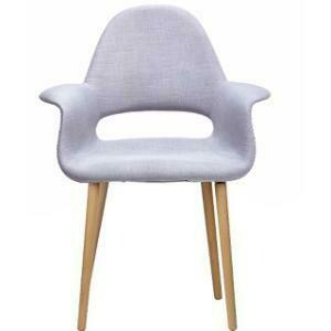 Chair, Organic Cotton Wing Chair (Grey) 28.25 x 24.5 x 36.5