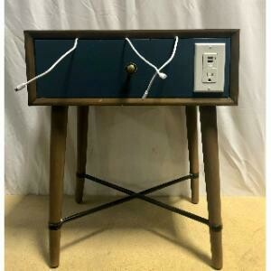 Charging Station, End Table, Mid-Century (Blue) 20 x 16 x 24