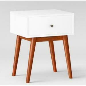 End Table, Mid-Century (White) 19 x 16 x 21